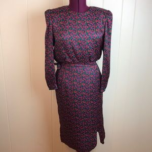 Vtg 80s/90s Red Green Silk Abstract Floral Dress